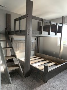 Custom Bunk Beds for Adults and Kids - All sizes available Rustic Bunk Beds, Cabin Bunk Beds, Queen Bunk Beds, Bunk Bed Rooms, Adult Bunk Beds, Bunk Beds Built In, Bunk Bed With Trundle, Loft Bunk Beds, Cool Beds For Kids