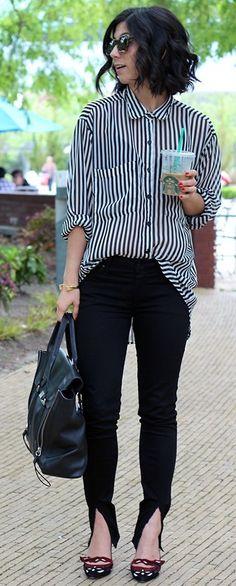 #fall #thistimetomorrow #outfits   Stripes + Black