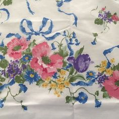Vintage Daisy Kingdom Country Garden Bouquet Fabric Blue Floral 3 Yds | eBay