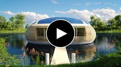 WaterNest 100, eco-friendly floating house designed by Giancarlo Zema for EcoFloLife, made entirely of recycled laminated timber and aluminium hull.
