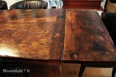 HD Threshing. Bespoke reclaimed wood harvest table. Features custom graphics embedded the table top. 7 ft Harvest Table – 38″ wide Premium epoxy/ matte polyurethane finish 2″ thick reclaimed wood threshing floor board top