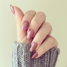 """Rose gold colour Shellac """"Untitled Bronze"""" and my favourite grey knit."""