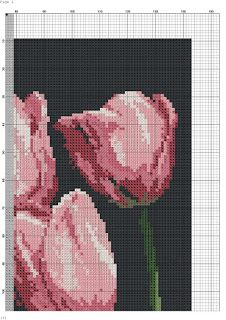 los gráficos del gato: TULIPANES Easy Cross Stitch Patterns, Simple Cross Stitch, Cross Stitch Flowers, Russian Cross Stitch, Rug Hooking, Lady In Red, Projects To Try, Painting, Gallery