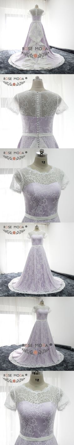 Rose Moda Short Sleeves Purple Wedding Dress Chantilly Lace Wedding Dresses with Sash Real Photos