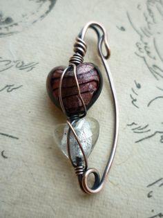 "Sweater Pin Scarf Pin Shawl Pin - Glass Beaded Copper Pin/Beaded Fibula ""Cross My Heart"""