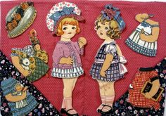 Victorian Paper Doll Fabric | Valentine's Day - Cloth Paper Dolls - Victorian Inspired Jane and ...