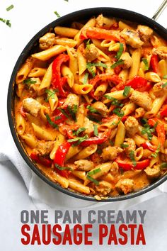 This tasty, creamy Sausage Pasta recipe is so quick. It makes a brilliant 30 minute dinner, where the pasta is cooked in the sauce, all in one pan! Creamy Sausage Pasta, Sausage And Peppers Pasta, Sausage Pasta Bake, Sausage Pasta Recipes, Italian Sausage Pasta, Veggie Sausage, Best Pasta Recipes, Quick Dinner Recipes, Cooking Recipes