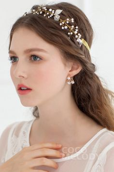 Cute Wedding Headpiece with Imitation Pearl SAH039 #cocomelody