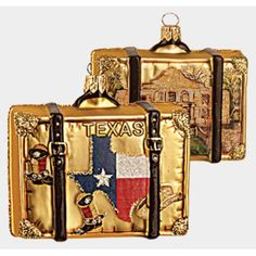 Texas and Alamo Travel Suitcase Polish Glass Christmas Ornament Decoration Western Christmas, Christmas Travel, Blown Glass Christmas Ornaments, Glass Christmas Tree Ornaments, Polish Christmas, How To Make Ornaments, Suitcase, Trading Company, Texas