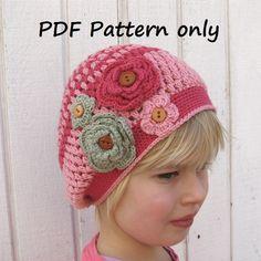 Patrón Crochet - Slouchy Spring Girls Sombrero, patrón de ganchillo PDF, Patrón N º 45