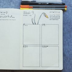 Bullet journal weekly layout, flower drawing. | @mediocre_bujo