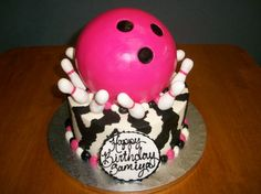 Pink and Black Bowling Birthday Cake