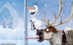Sven and Olaf; wait, don't tell me, Olaf is going to try and lick the pole, and will realize that one) he might not have a tongue, or two) his tongue will get stuck, too.