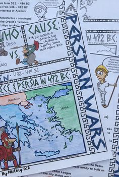 These Persian Wars doodle notes are a great way to summarize or review the Persian Wars. Students will enjoy coloring and doodling as they take notes to learn about the Persian Wars between the Persians and the Greek City States.