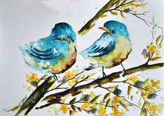 ORIGINAL Watercolor Painting, Two Blue Baby Birds With Yellow Flowers Illustration 6x8 inch