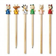 Cute wooden animal-topped pencils, £1 each from Tiger..