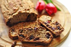 Easy, fast and delicious banana bread with chocolate and cranberries. (in English and Polish) Sugar Free Banana Bread, Dessert Recipes, Desserts, Meatloaf, Cranberries, Sweets, Chocolate, Polish, Blog