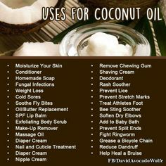 It's crazy how many uses Coconut Oil has! Oh! And it works great as a makeup remover, and also has really worked for acne and acne scars!