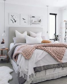 Design in a Box minimalist Scandinavian bedroom design tips and tricks white - For the Home - Boho Bedding Small Master Bedroom, Bedding Master Bedroom, Woman Bedroom, Master Bedroom Design, Cozy Bedroom, Trendy Bedroom, Home Decor Bedroom, Modern Bedroom, Girls Bedroom