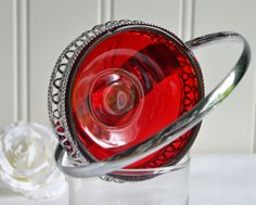 Candy bowl red glassceltic plate vintage by GrannyHannasCottage