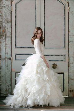Sareh Nouri 2015 bridal collection: lace, romantic designs, lavender, and frilly perfection. Gorgeous wedding dress with sleeves and full gown 2015 Wedding Dresses, Wedding Attire, Wedding Bride, Wedding Gowns, Lace Wedding, Wedding Ideas, Wedding Planning, Swan Lake Wedding, Wedding Inspiration
