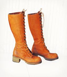Vintage Tan Leather Lace up Knee High Combat Boots 70s Zodiac Frye Style Grunge Distressed. $85.00, via Etsy.