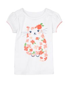 Sweet as can be! Your baby girl is sitting pretty in our kitty tee with glittery cherry blossoms. Adorable design is extra cute with 3D flower detail and bright picot trim. In super soft cotton rib, our tee is sure to bring a smile again and again.