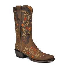 "Stetson Women's Floral Western Boots --- The flower embroidery is gorgeous, although I think these would look even better with a slightly higher ""cowboy"" heel instead of the stacked heel.  Visit me at http://midwestbeautyreview.com/"