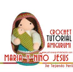 Tutorial de amigurumi crochet Virgen Maria y Niño Jesús