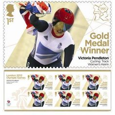Gold Medal Winner stamp - Victoria Pendleton, Cycling, Women's Keirin