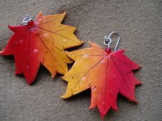 Autumn leaf earrings by Katiloom, via Flickr