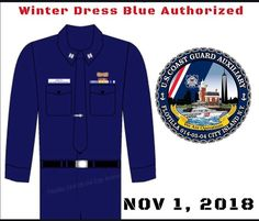 Its that time of year again! On Thursday November Winter Dress Blue will be authorized for wear until March ODU Sleeves must… Coast Guard Auxiliary, November 1st, Winter Dresses, Blue Dresses, Thursday, Coat, Sleeves, How To Wear, Jackets