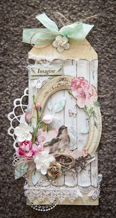 Creative Mayhem: Cards and tags using BoBunny Madeline Collection. Inspired by Gabrielle pollacco gift tags shabby chic Vintage Tags, Shabby Vintage, Card Tags, Gift Tags, Photo Halloween, Shabby Chic Cards, Handmade Tags, Handmade Crafts, Paper Tags