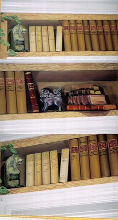 Trompe l'oeil book case by Louise Moorman