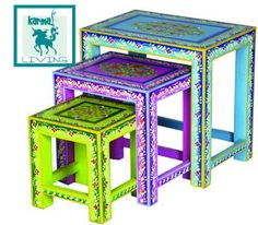 Frick Handpainted Tables, S/3 - I have no idea what I would do with these, but I love the color