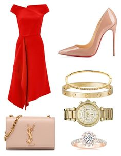 """""""Red&nude"""" by monykegrandino on Polyvore featuring moda, Roland Mouret, Yves Saint Laurent, Christian Louboutin, Cartier, Melissa Odabash e Michael Kors"""