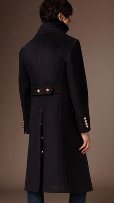 Navy Wool Blend Military Greatcoat - Image 2