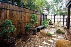 jardin japonais avec bambous déco