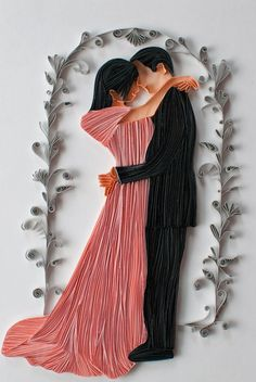 """A Wedding Gift"" by Bavani Ratnam (Quillosophy). A quilled wedding gift made based on actual photo of the couple"