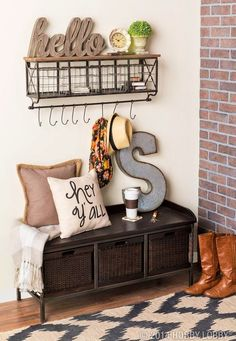 Add Storage Space with Wire Baskets. I like the bench and baskets and the shelf with metal basket storage and hooks