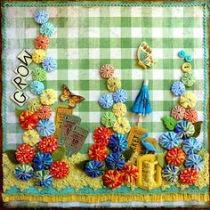 Would love this on my wall! This inspires me to create a picture that features both altered art/paper/fabric items with yo-yos - perhaps a fairy cottage scene!