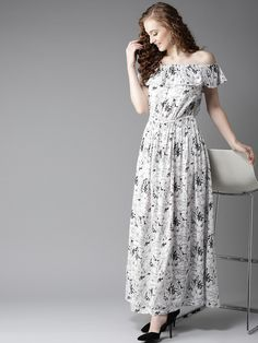 bea19a7bcde Buy HERE NOW Women White   Grey Printed Bardot Maxi Dress - Dresses for  Women