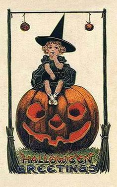 vintage Halloween little girl witch pumpkin black cat card. This would be so cute to use as a halloween party invitation Image Halloween, Halloween Pictures, Holidays Halloween, Halloween Crafts, Happy Halloween, Halloween Clothes, Halloween Decorations, Halloween Poster, Halloween Recipe
