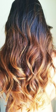 Ombré hair-color for darker bases with medium warm brown mid-shaft and golden blonde ends