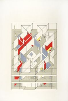 Diamond House B, Projection. John Hejduk.1963-1967; architectural drawing; ink with color wash on board.
