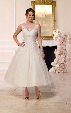 6258 Tea-Length Tulle Wedding Dress by Stella York