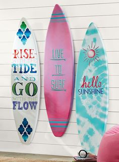 surf board wall are that's enough to inspire!