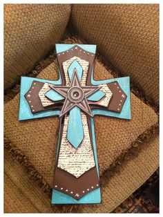 Large Brown, Turquoise And Designer Paper Wood Cross. $45.00, via Etsy.