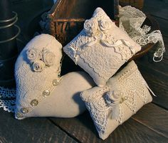 Linen and Lace Pincushion Trio