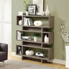Monarch 55 in. Reclaimed-Look Modern Bookcase - Dark Taupe - Give your living space a modern update by adding the Monarch 55 in. Reclaimed-Look Modern Bookcase - Dark Taupe . Like you this bookcase is inspired. Contemporary Bookcase, Modern Bookshelf, Bookshelf Design, Bookshelves, Metal Bookcase, Shelving Design, Bookcase Styling, Contemporary Decor, Baby Furniture